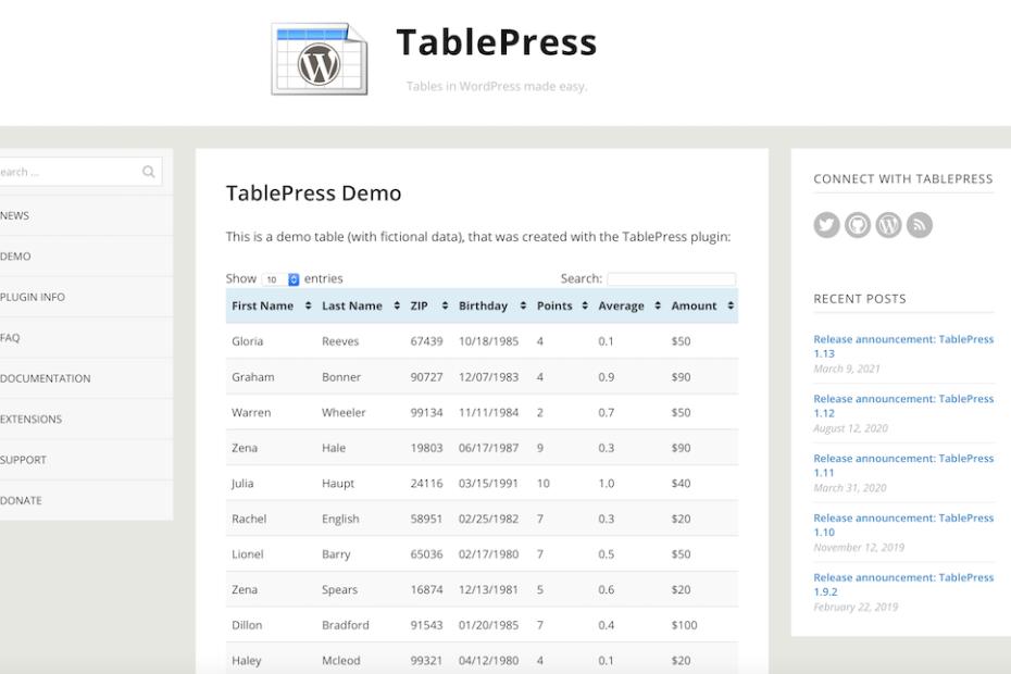 Wordpress Plugin TablePress